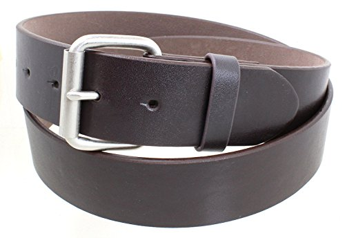 Men's Satin Nickel Roller Belt Buckle Smooth Leather Belt - Brown XL