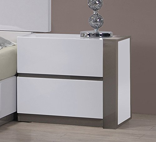 White Lacquer Glossy Finish - Milan Valencia Gloss White & Grey Right 2-Drawer Nightstand
