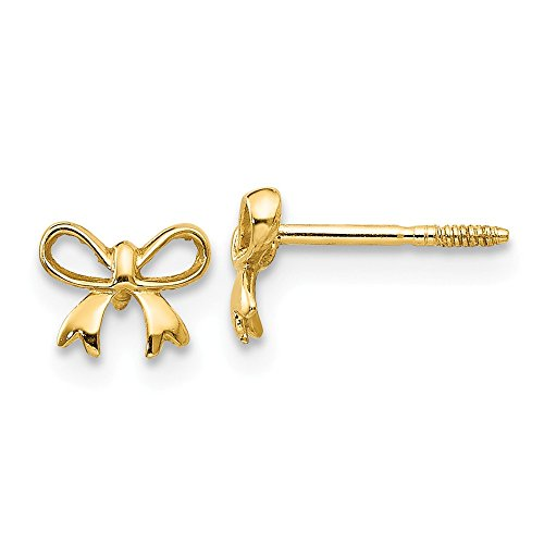(14k Yellow Gold Bow Post Stud Earrings Fine Jewelry Gifts For Women For Her)