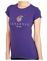 SAVANNAH Peach Rhinestone/stud Womens T-Shirts