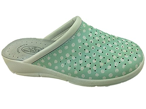 Foster Footwear - Sandalias con cuña mujer Mint/Polka Dot