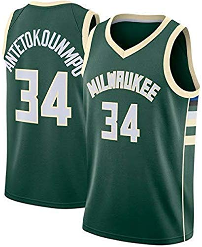 Rying Camiseta de Baloncesto para Hombre, NBA, Milwaukee Bucks #34 ...