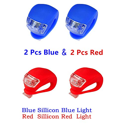 classic glow Kneos Tech Bicycle Bike Light LED Set Wrap-Around Band 2 Front & 2 Rear Waterproof Silicone W/3 Modes (2pcs Red & 2pcs Blue)