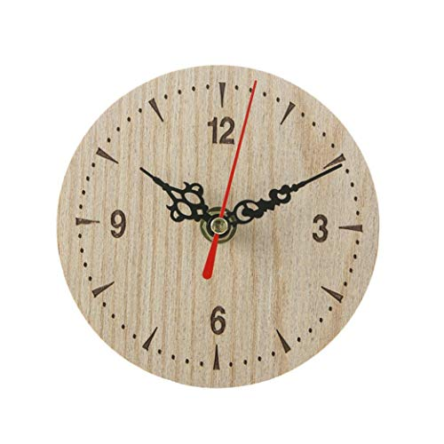 Shabby Retro Wooden Wall Clock, Sttech1 Wall Clocks Large Decorative Antique Vintage Rustic Country Style Home Kitchen Room Decor (Beige C)