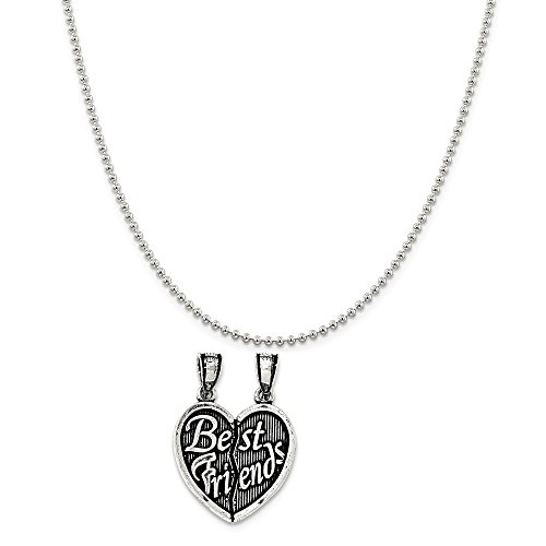 Sterling Silver Antiqued Best Friends Break Apart Heart Pendant on a Sterling Silver Ball Chain Necklace ()
