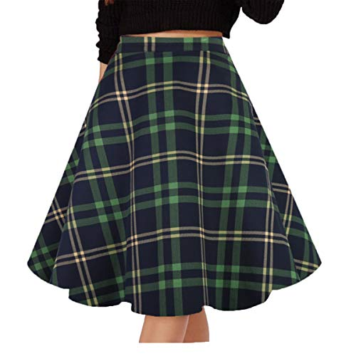 Musever Women's Pleated Vintage Skirts Floral Print Casual Midi Skirt A-Green-Navy Plaid S