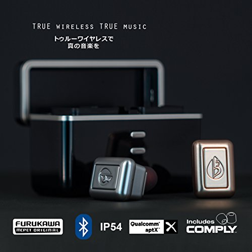 fFLAT5 Aria Two True Wireless Bluetooth Hi-Fi Stereo Earbuds with Mic, COMPLY Memory Foam Tips, and Portable Charging ()