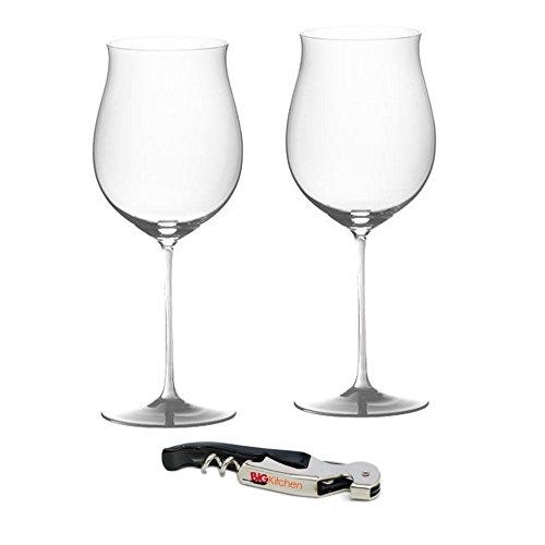 Riedel Sommeliers Leaded Crystal Burgundy Grand Cru 2 Piece Wine Glass Set with Bonus BigKitchen Waiter's Corkscrew ()