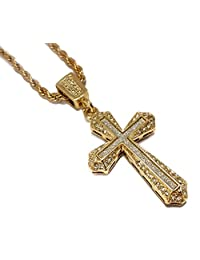 "18k Gold Cross Pendant Stainless Steel Necklace with 24"" Rope Chain"