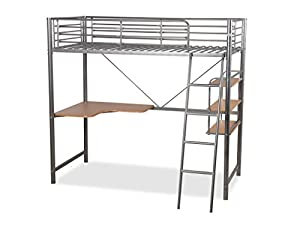 Humza Amani Upton High Sleeper Study Bunk Bed Frame In Silver Metal Finish