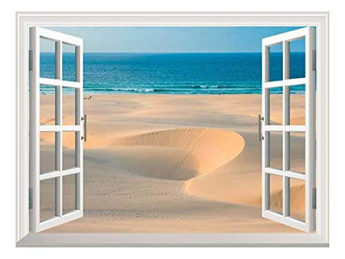Praia Cape Verde - wall26 Removable Wall Sticker/Wall Mural - Sand Dunes in Chaves Beach Praia De Chaves in Boavista Cape Verde | Creative Window View Home Decor/Wall Decor - 24