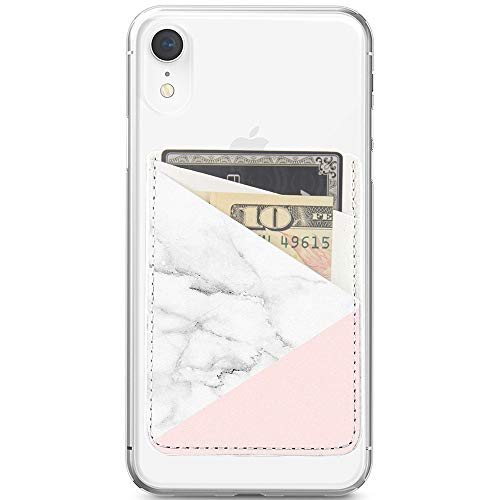 Obbii Baby Pink Marble PU Leather Card Holder for Back of Phone with 3M Adhesive Stick-on Credit Card Wallet Pockets for iPhone and Android Smartphones by Obbii (Image #2)