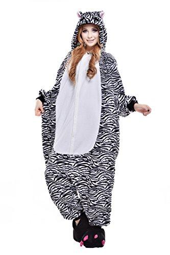 2 Man Zebra Costume - Newcosplay Warm Sleepwear Adult Cosplay Dress Pajamas Fursuit Costume Homewear Lounge Wear (XL, zebra)