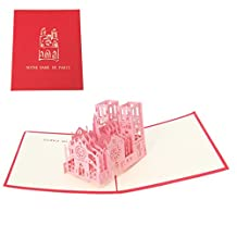 Poity 3D Notre Dame Greeting Card Pop Up Paper Cut Postcard Birthday Valentines Gift Pink