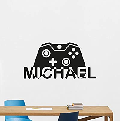 Personalized Name Gaming Wall Decal Custom Video Game Gamepad Playroom Vinyl Sticker Gamer XBox PS PC Home Office Kids Living Room Decor Nursery Art Design Bedroom Mural 107quo