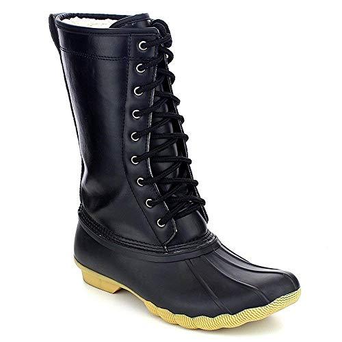 Refresh Hunter-07 Women's Waterproof Rubber Rain Skimmers Duck Boots Black 5 M US