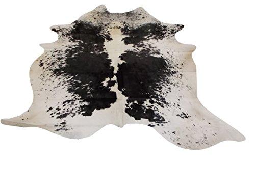 Premium Südamerikanisches Kuh-Fell - Schönes Schwarz und Weiß Muster Teppich - Ca 210 cm x 170 cm - W30