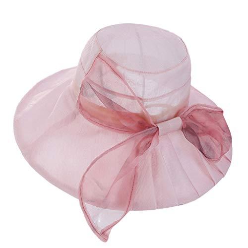 TIFENNY Women's Casual Cap Mesh Bow Decor Church Kentucky Derby Fashion Bridal Tea Party Beach Hat Pink]()