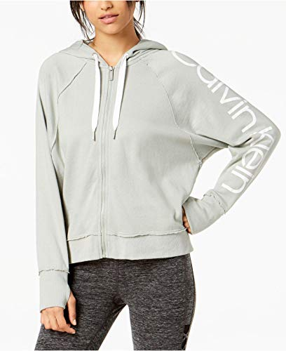 (Calvin Klein Women's Performance Logo Relaxed Zip Hoodie, Pearl Grey Heather, X-Large)