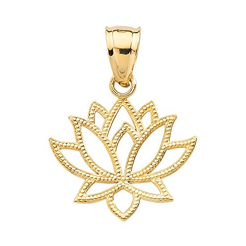Pendant Lotus Flower Design (10k Yellow Gold Open Design Lotus Flower Pendant)