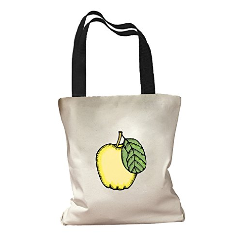 Quince Fruit & Vegetable Image Canvas Colored Handles Tote Bag - Black