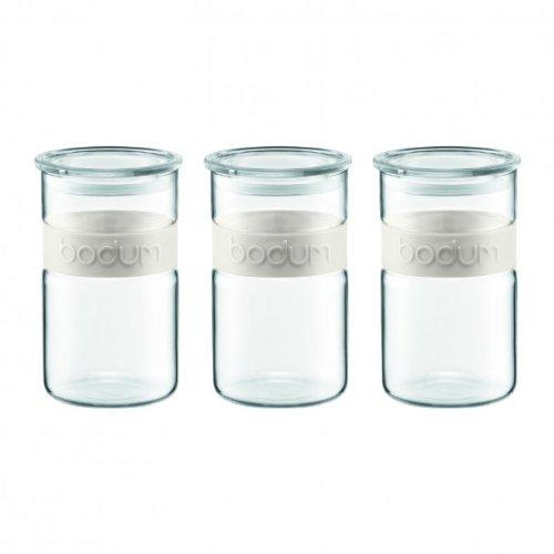 Bodum - K11099-913 - Presso - Set de 3 tarros de cristal con tapa - 1, 0 l - banda de silicona - color blanco crema
