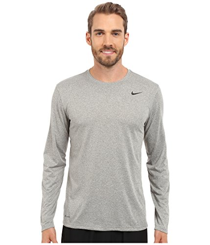 Nike Mens Legend 2.0 Long Sleeve Dri-Fit Training Shirt Grey Heather/Black 718837-063 Size Large (Nike Waffle Shirt)