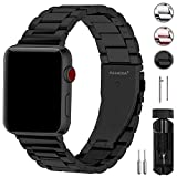 Fullmosa Compatible Apple Watch Band 38mm 40mm 42mm 44mm, Stainless Steel Metal for Apple Watch Bands, 38mm 40mm Black