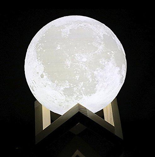HAIXIANG Tooarts 3D Printing Light Charging Luna Moon Lamp Modern Sculpture Bedroom Night Light 7.8