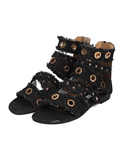 Cape Robbin Kvinner Gladiator Sandal - Frynsete Denim Sandal - Pigger Og Maljen Flat Sandal - Hk30 Av Sort Denim