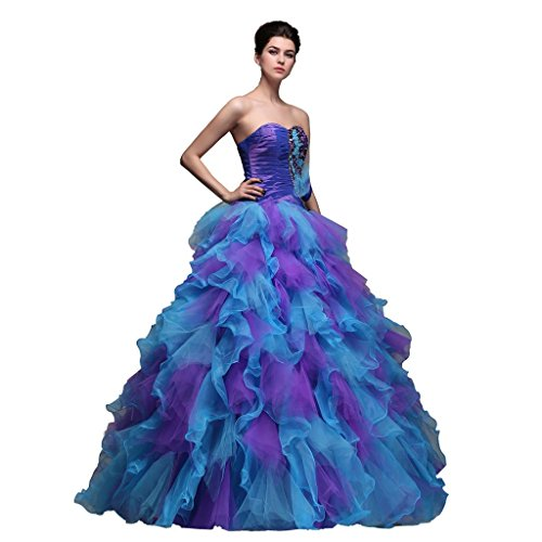 Efashion Women's Pageant Gala Homecoming Dress Multi-color(Purple&Blue) Size L