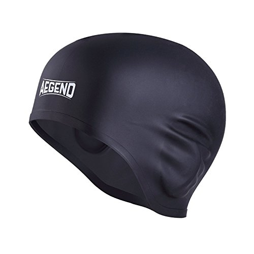 Aegend Solid Silicone Swim Cap, Comfortable Fit Swim Caps Swimming Cap for Men Women Adults Youths, 3D Ergonomic Design, - That Covers Swim Cap Ears