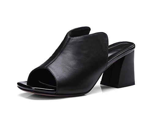 Back Negro Shoe Heel Mujer Sandalias Toe Open High Flops amp; Flip caseros Zapatillas para Peep para Mujer Summer Block DANDANJIE Zapatos qAzR1