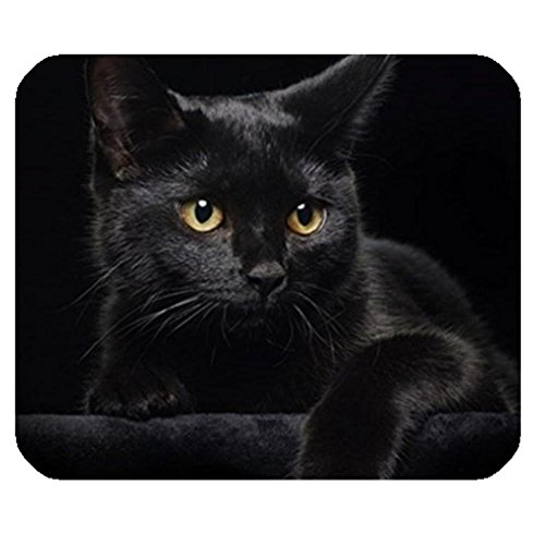 LiFei Business Black Cat with Yellow Eyes Gaming mouse pad Mousepad Home/office Dust and Stain Resistant Hot Sale Fast Shipping by LiFei Business