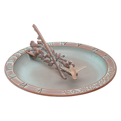 Whitehall Products Hummingbird Sundial Birdbath, Copper Verdi