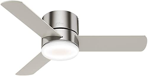 Hunter Minimus Indoor Low Profile Ceiling Fan with LED Light and Remote Control, 44 , Brushed Nickel