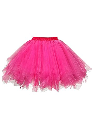 (malishow Womens Short Tutu Costume Tulle Skirt Dance Multi-Colored Party Petticoat Hot PinkXXL)