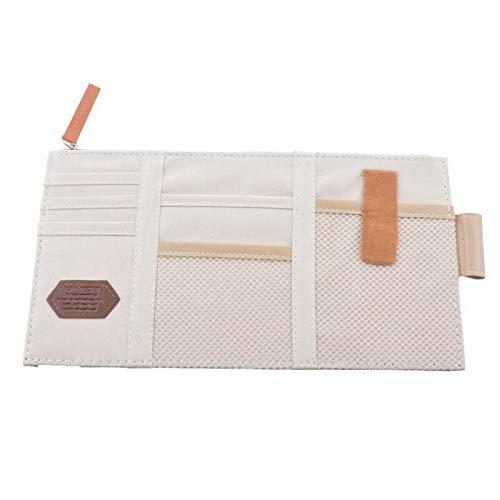 (EGALIVE 1pc Car Sun Visor Hanging Organizer Eyeglasses Sundries Holder Clip Credit Card Ticket Package Clamp Leather Storage Bag)