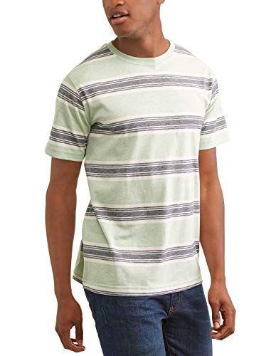 George Men's Super Soft Patterned Tagless Crew Tee Shirt (Soft Sea Glass Stripe, ()