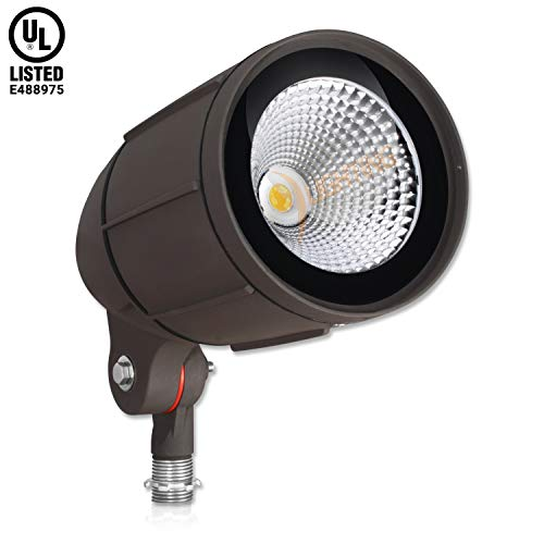- 30-Watt LED Bullet Flood Light for 120 Volt Outdoor Landscape Lighting, 3200 lm, Bronze, 150W MH Equal, Flag Pole Light, 25° Spotlight Beam, Warm White (3000K, 1-Pack)