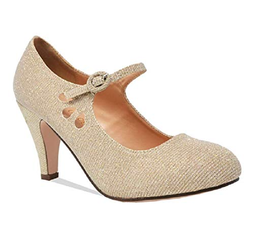 Chase & Chloe Womens Teardrop Pump Heel Shoes Nude Glitter 6.5