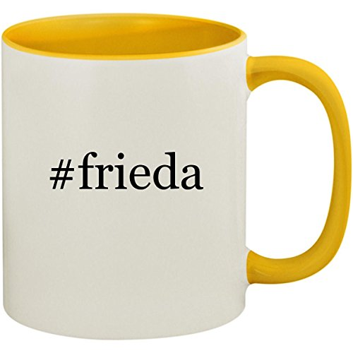 Price comparison product image #frieda - 11oz Ceramic Colored Inside and Handle Coffee Mug Cup, Yellow