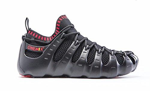 Onemix Mens Multipla Scarpe Da Indossare, Sandali Gladiatore, Scarpe Calzino, Sneakers Moda Nero / Rosso