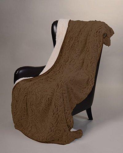 [Regal Comfort Sherpa Luxury Throw Rose Print (Brown, 50