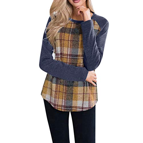 POQOQ Tunic Tops Women Casual Plaid Print Shirt Long Sleeve Round Neck Loose Blouse(Yellow,XXL) -