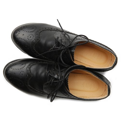 Heels Shoe Low Lace Women's Black Dress Wingtip Ollio Up Oxford RXWq6nnB