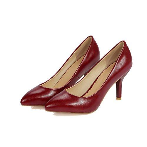 Amoonyfashion Femme Fermé-orteil Talons Hauts Pu Solide Pompes-chaussures Rouge
