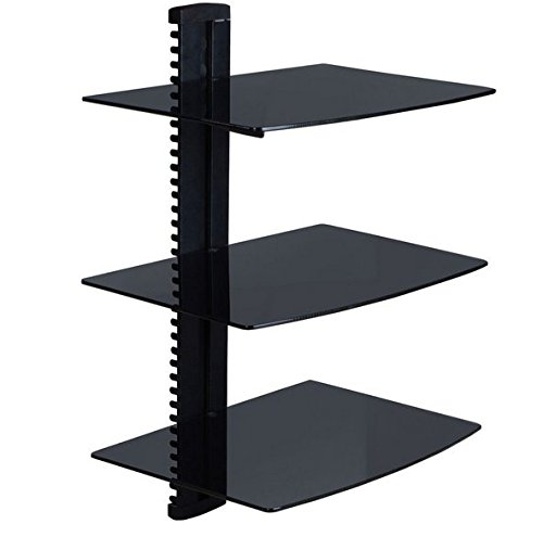 Review Jeronic Floating Wall Mounted Tempered Glass 3 Shelves, Black By Jeronic by Jeronic