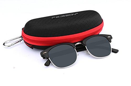 FEISEDY Classic Polarized Half Frame Brand Sunglasses Men Women B2250 Bright Black