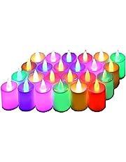 شمع مضئ 24 قطعة ليد متغير الالوان